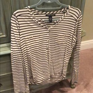 Lucky Brand Green and White striped top